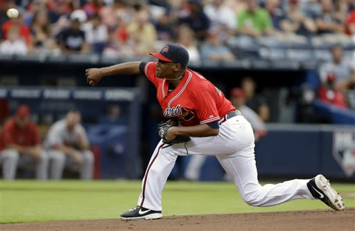 Atlanta Braves starting pitcher Julio Teheran throws in the first inning of a baseball game against the Arizona Diamondbacks, Friday, June 28, 2013, in Atlanta. (AP Photo/David Goldman)
