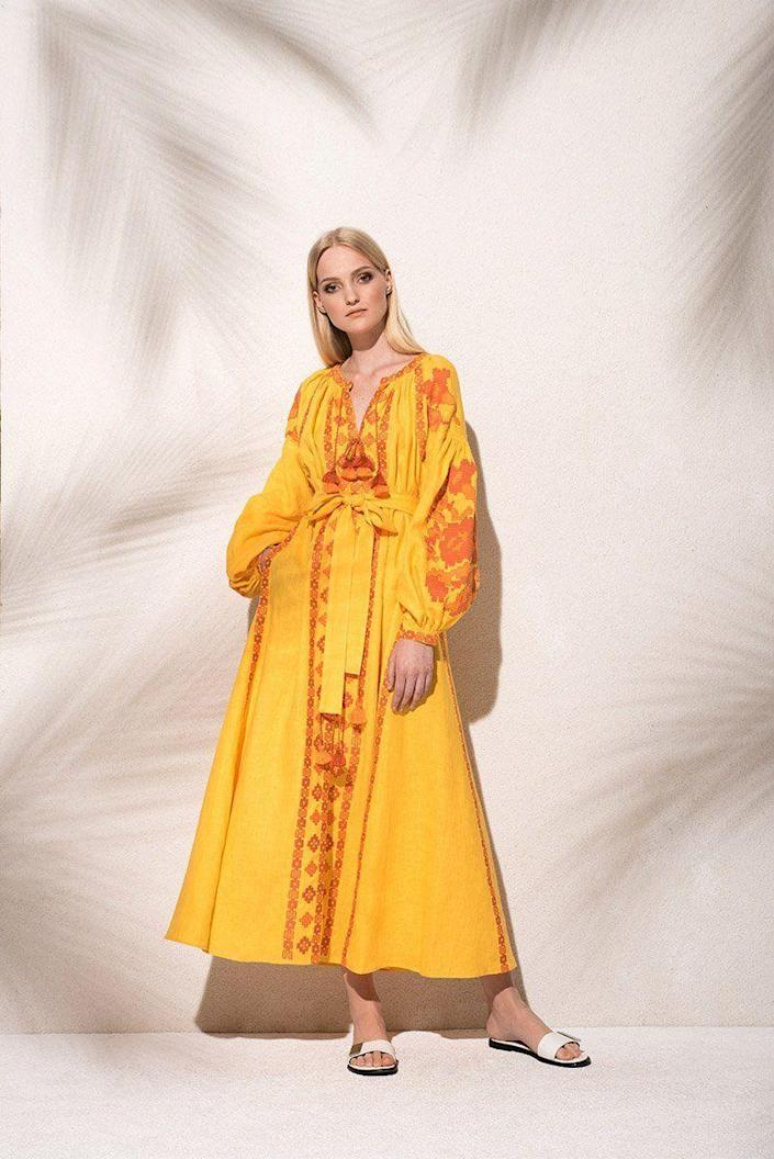 """<p><strong>$519.00</strong></p><p><a href=""""https://www.march11.com/collections/new-arrivals/products/flower-pixel-maxi-dress-in-yellow-1"""" rel=""""nofollow noopener"""" target=""""_blank"""" data-ylk=""""slk:Shop Now"""" class=""""link rapid-noclick-resp"""">Shop Now</a></p><p>""""I'm looking forward to transitioning my closet from winter to summer. I'll add a few new pieces to keep things exciting and the embroidered dresses from March 11 are perfect for easy summer dressing.""""—<em>MaryKate Boylan, Senior Fashion Editor</em></p>"""