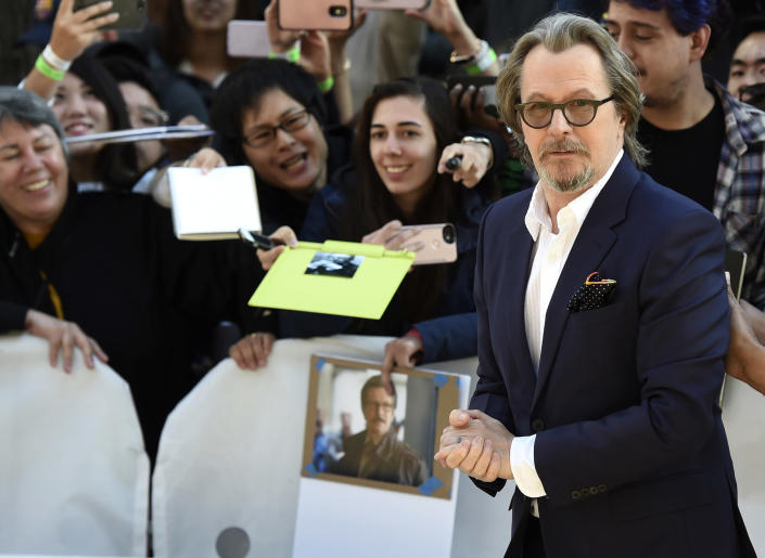 """FILE - Gary Oldman attends a premiere for """"The Laundromat"""" on day five of the Toronto International Film Festival on Sept. 9, 2019, in Toronto. Oldman turns 63 on March 21. (Photo by Chris Pizzello/Invision/AP, File)"""