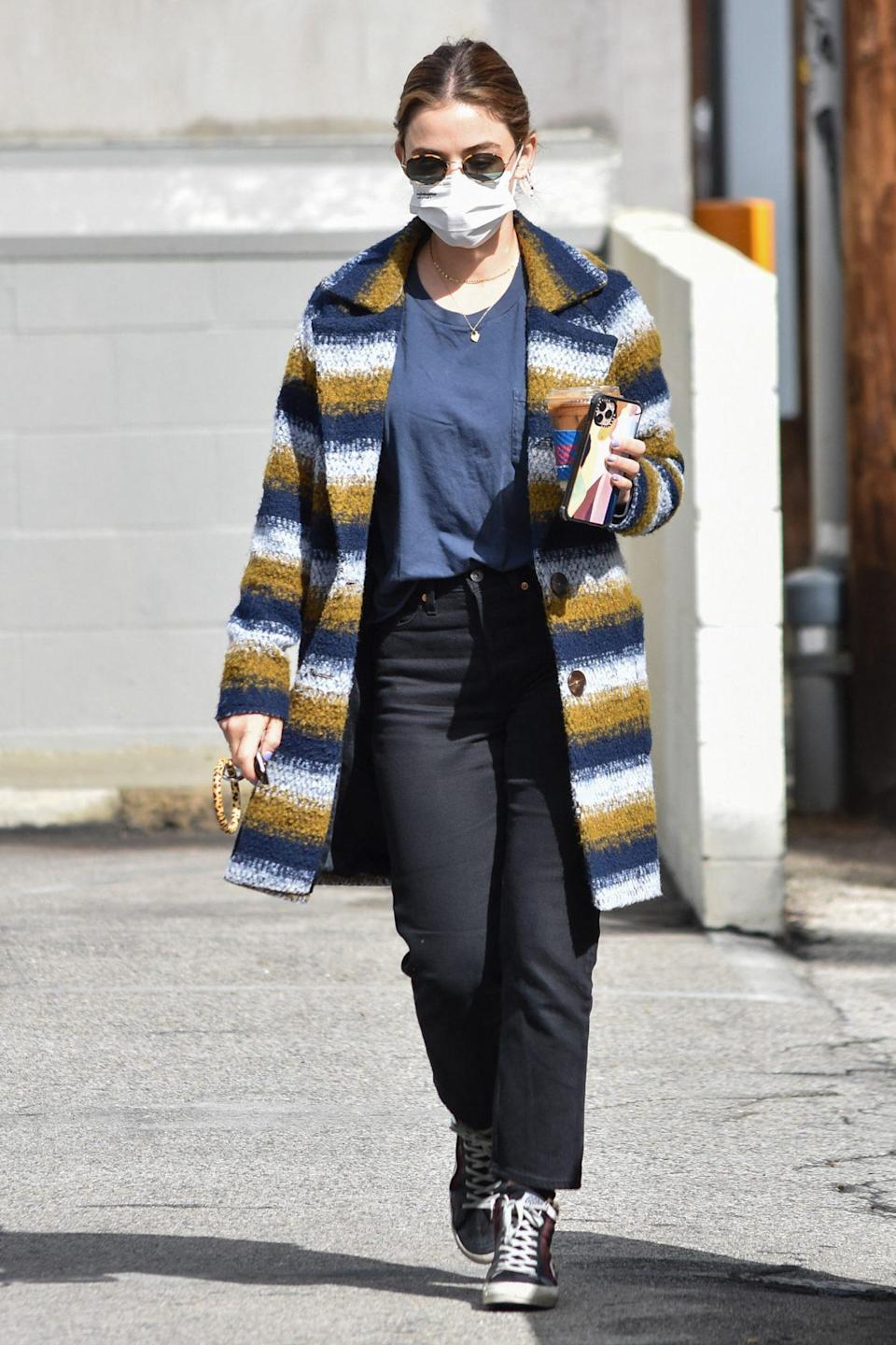 <p>Lucy Hale stays cozy on Thursday while running errands in L.A.</p>