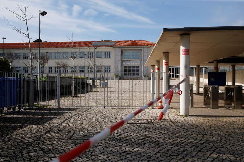A closed school is seen during the country's lockdown, amid the coronavirus disease (COVID-19) pandemic, in Oeiras