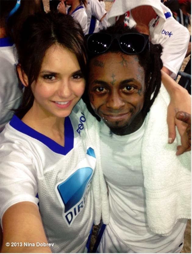 "The ""Vampire Diaries"" star keeps it positive . ""Losers and still smiling- doesn't matter, we're still winning :) It was a close game! Love you @liltunechi @directtv #beachbowl"""