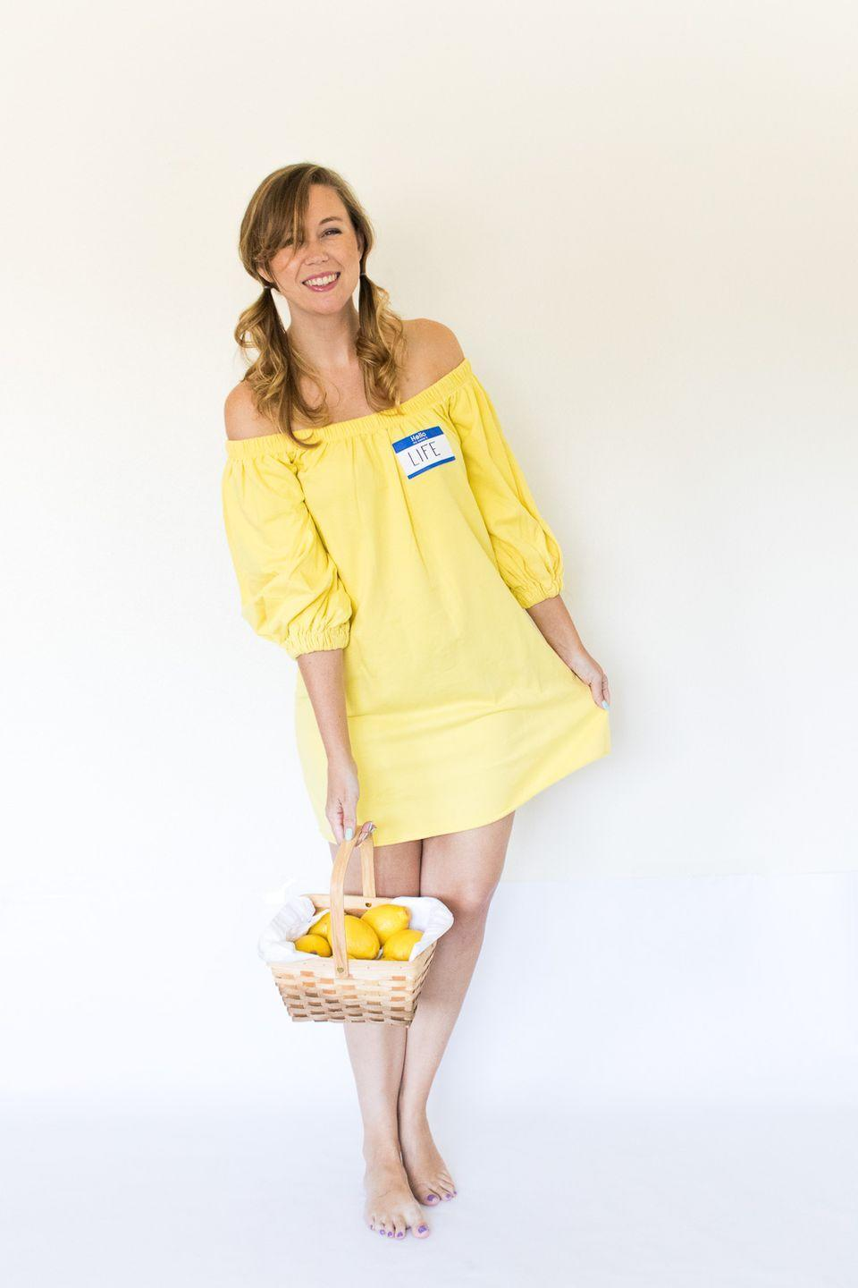 """<p>When life gives you lemons, make this creative Halloween costume! </p><p><strong>Get the tutorial at <a href=""""http://www.clubcrafted.com/2017/10/24/4-last-minute-idiom-halloween-costumes/"""" rel=""""nofollow noopener"""" target=""""_blank"""" data-ylk=""""slk:Club Crafted"""" class=""""link rapid-noclick-resp"""">Club Crafted</a>.</strong></p><p><strong><a class=""""link rapid-noclick-resp"""" href=""""https://www.amazon.com/cailami-Womens-Summer-Dresses-Pockets/dp/B0923Y9D4L/ref=sr_1_5?tag=syn-yahoo-20&ascsubtag=%5Bartid%7C10050.g.21600836%5Bsrc%7Cyahoo-us"""" rel=""""nofollow noopener"""" target=""""_blank"""" data-ylk=""""slk:SHOP YELLOW DRESS"""">SHOP YELLOW DRESS</a></strong></p>"""