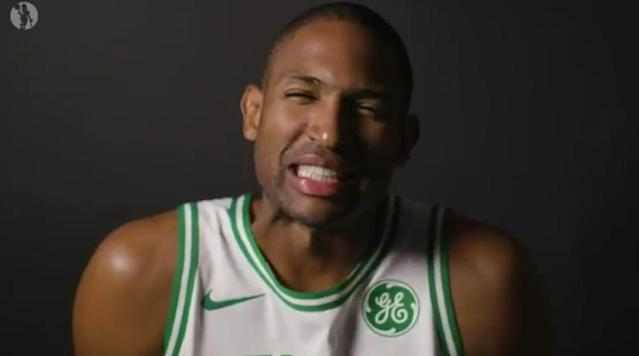"<a class=""link rapid-noclick-resp"" href=""/nba/players/4245/"" data-ylk=""slk:Al Horford"">Al Horford</a> tries and fails to do an accent in the Celtics' promo video for their game in London. (Twitter/@Celtics)"