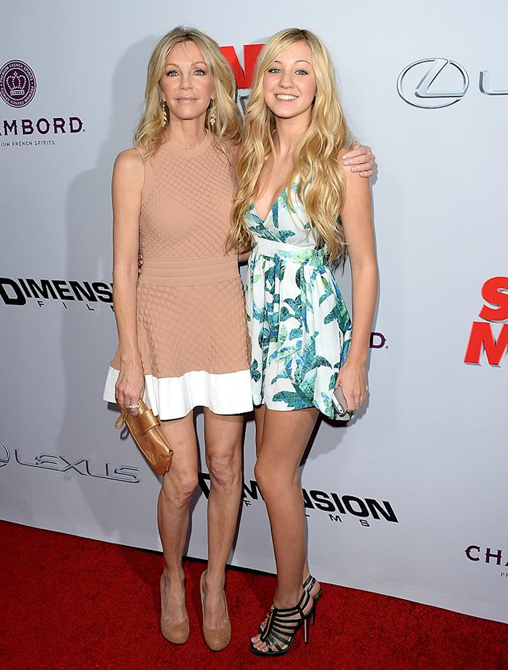 "HOLLYWOOD, CA - APRIL 11:  Actresses Heather Locklear (L) and Ava Sambora arrive at the Dimension Films' ""Scary Movie 5"" premiere at the ArcLight Cinemas Cinerama Dome on April 11, 2013 in Hollywood, California.  (Photo by Jason Merritt/Getty Images)"