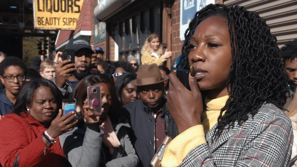 Amara Enyia holds a news conference with Chance the Rapper and Kanye West in Southside Chicago.