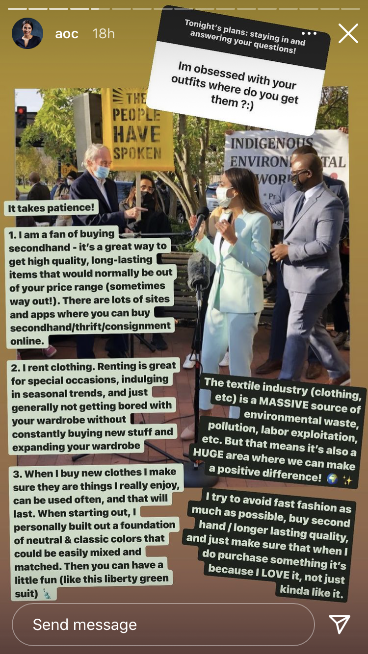 AOC shared her style secrets with her followers. (Photo: Instagram Stories)