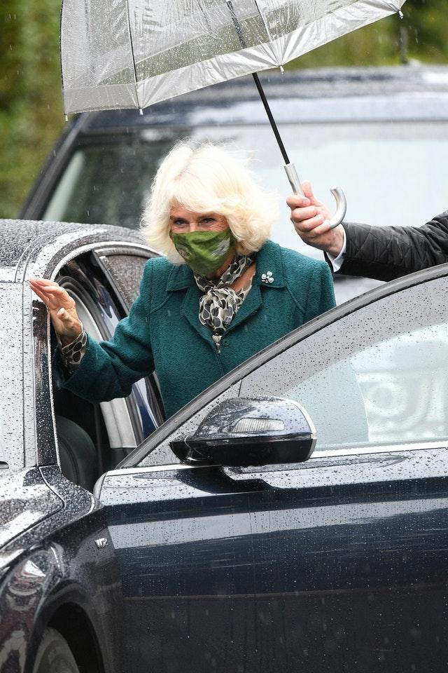 Camilla wore a face mask during her visit to Northern Ireland. Tim Rooke/PA Wire