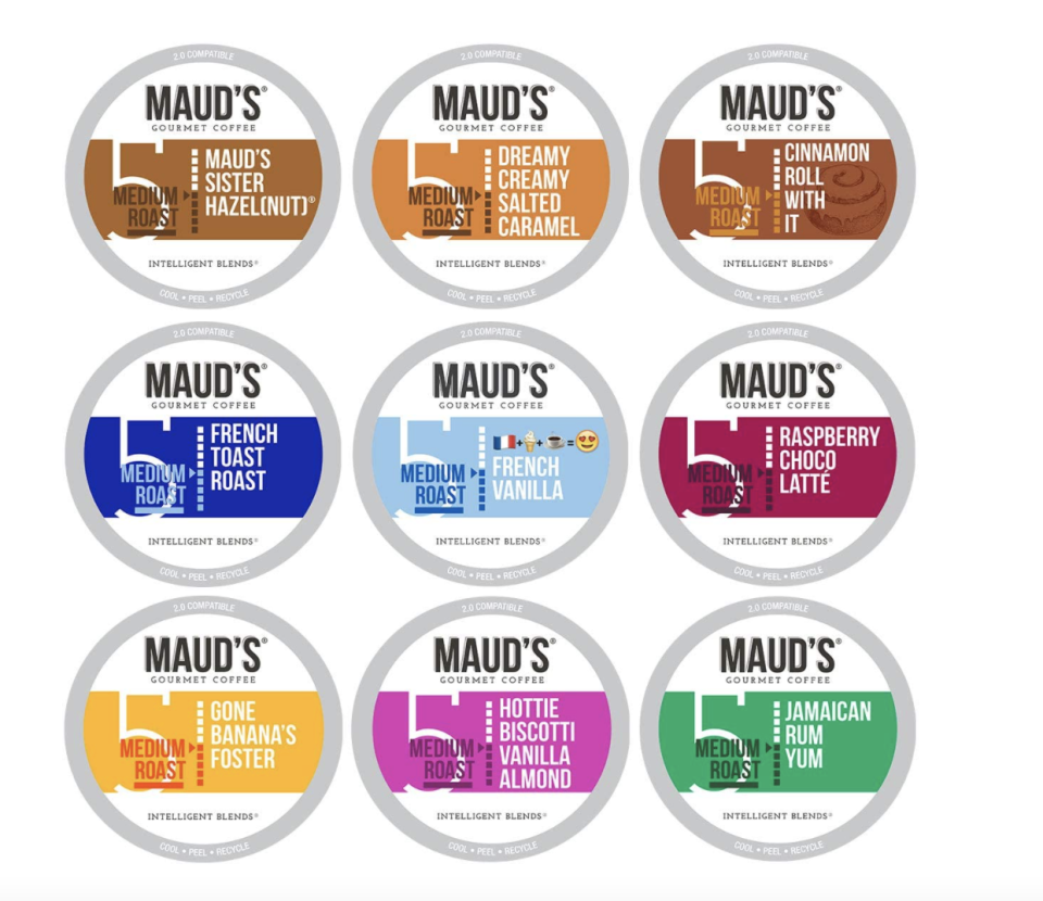 Maud's Flavored Coffee Variety Pack coffee pods with different flavours
