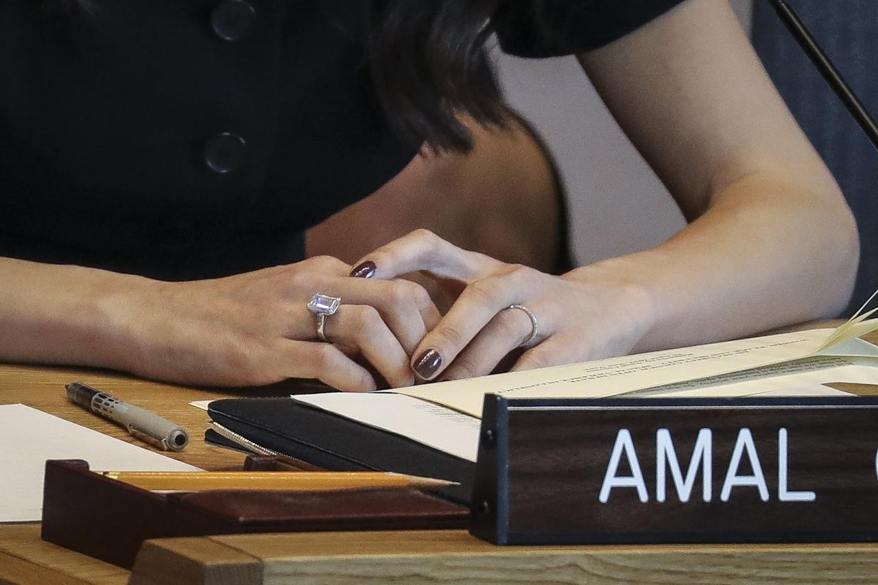 <p>Amal oftentimes wears her engagement ring to work. It appeared at a United Nations Security Council meeting in April 2019.</p>