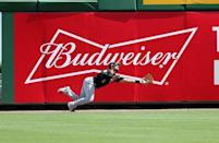 FILE PHOTO: Mar 1, 2019; Clearwater, FL, USA; Pittsburgh Pirates outfielder Lonnie Chisenhall (5) misses a fly ball during the first inning against the Philadelphia Phillies at Spectrum Field. Mandatory Credit: Kim Klement-USA TODAY Sports