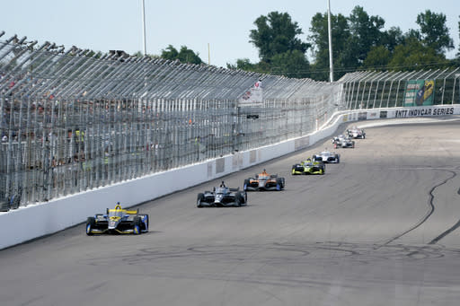Drivers make their way down the front straight during the IndyCar auto race at World Wide Technology Raceway on Sunday, Aug. 30, 2020, in Madison, Ill. (AP Photo/Jeff Roberson)