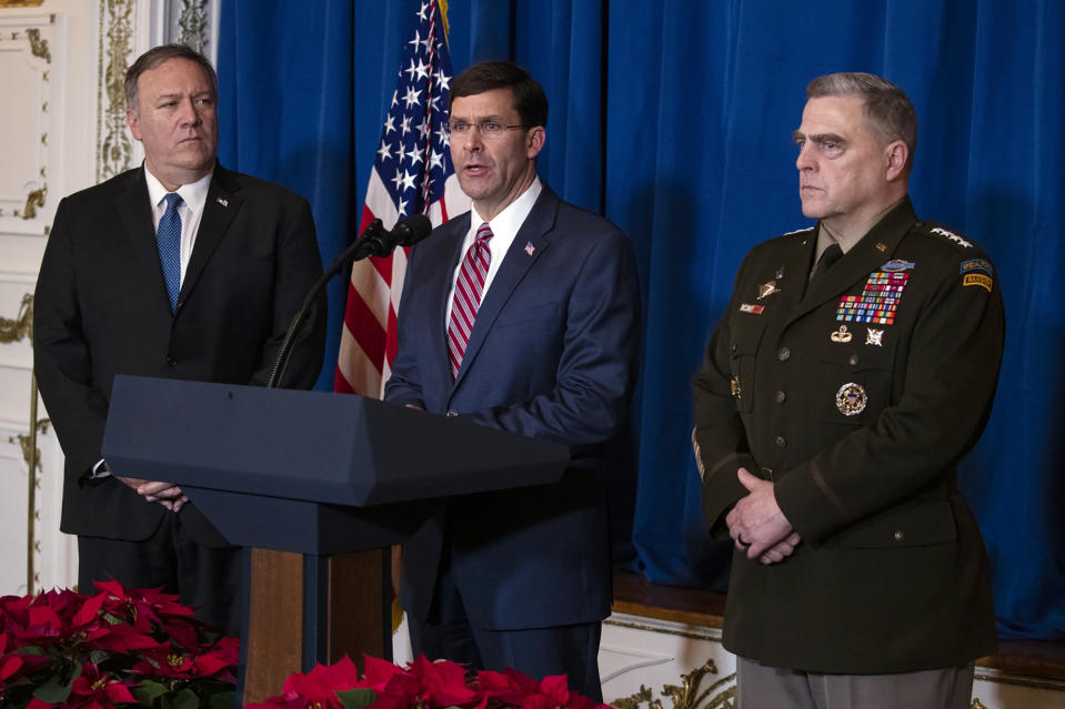 From left: Secretary of State Mike Pompeo, Secretary of Defense Mark Esper and Chairman of the Joint Chiefs of Staff Gen. Mark Milley. (Photo: Evan Vucci/AP)