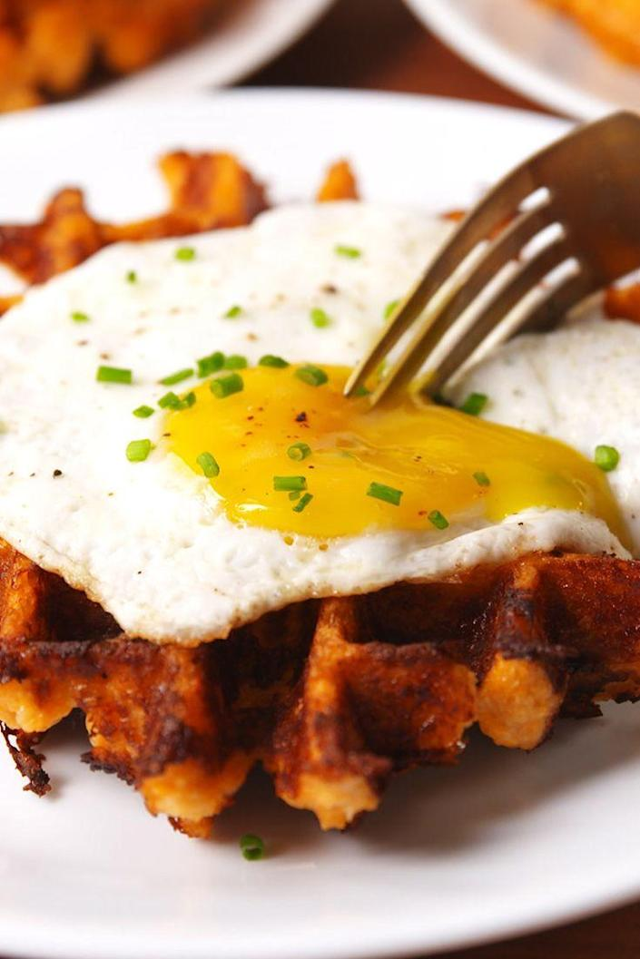 """<p>These low-carb waffles will become a weekend staple at your house.</p><p>Get the recipe from <a href=""""https://www.delish.com/cooking/recipe-ideas/recipes/a53533/cauliflower-waffles-recipe/"""" rel=""""nofollow noopener"""" target=""""_blank"""" data-ylk=""""slk:Delish"""" class=""""link rapid-noclick-resp"""">Delish</a>.</p>"""