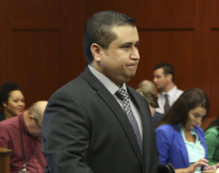 George Zimmerman enters the courtroom for his trial in Seminole circuit court in Sanford, Fla. Wednesday, July 10, 2013. Zimmerman has been charged with second-degree murder for the 2012 shooting death of Trayvon Martin. (AP Photo/Orlando Sentinel, Gary W. Green, Pool)