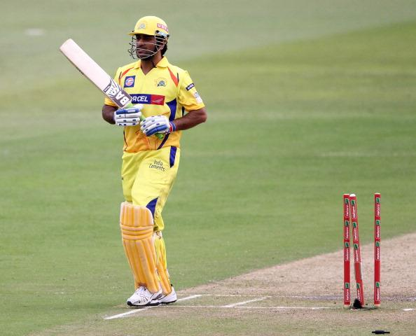 DURBAN, SOUTH AFRICA - OCTOBER 22:  MS Dhoni of Chennai is dismissed during the Champions League twenty20 match between Chennai Super Kings and Yorkshire Carnegie at Sahara Stadium Kingsmead on October 22, 2012 in Durban, South Africa. (Photo by Anesh Debiky / Gallo Images/Getty Images)