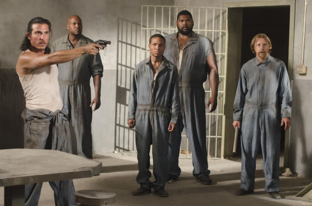 "Tomas (Nick Gomez), Oscar (Vincent Ward), Andrew (Markice Moore), Big Tiny (Theodus Crane) and Axel (Lew Temple) in ""The Walking Dead"" episode, ""Sick."""