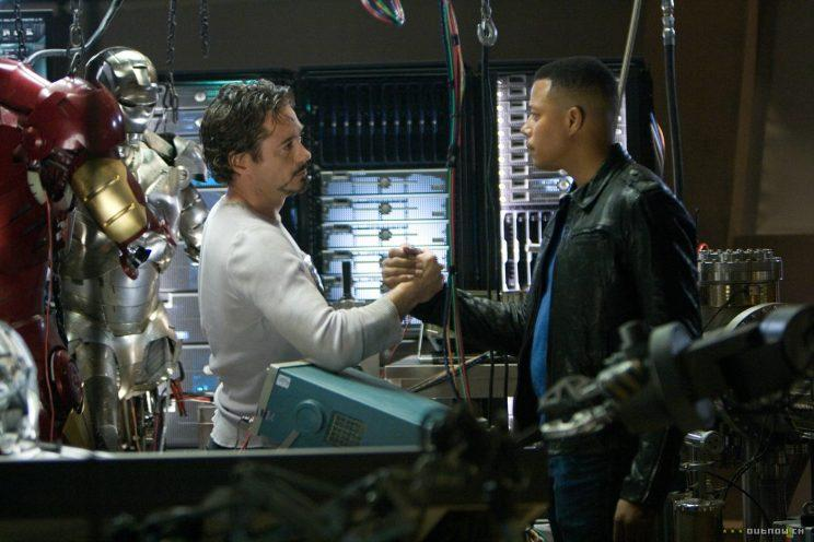 Hatchet buried... Terrence Howard says he and Robert Downey Jr aren't feuding anymore - Credit: Marvel/Paramount