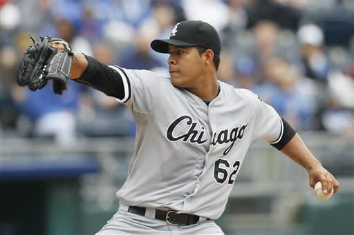 Chicago White Sox pitcher Jose Quintana throws the ball in the first inning of a baseball game against the Kansas City Royals at Kauffman Stadium in Kansas City, Mo., Sunday, May 5, 2013. (AP Photo/Colin E. Braley)