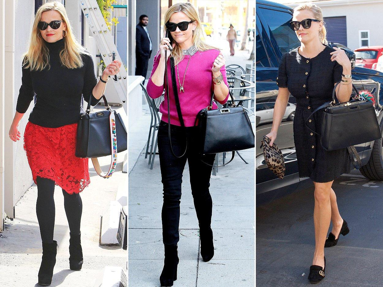 "There's nothing that goes better with Reese Witherspoon's classic ladylike outfits than this timeless <a href=""https://click.linksynergy.com/fs-bin/click?id=93xLBvPhAeE&subid=0&offerid=531417.1&type=10&tmpid=6894&RD_PARM1=https%3A%2F%2Fwww.net-a-porter.com%2Fus%2Fen%2Fproduct%2F497190%2Ffendi%2Fpeekaboo-medium-leather-tote&u1=POFASIRLMCAKMar18"">top-hande bag</a>.   <b>Look for Less: </b>Sole Society ""Izzy"" faux leather top handle satchel, $64.95; <a href=""https://click.linksynergy.com/fs-bin/click?id=93xLBvPhAeE&subid=0&offerid=390098.1&type=10&tmpid=8158&RD_PARM1=https%253A%252F%252Fshop.nordstrom.com%252Fs%252Fsole-society-izzy-faux-leather-top-handle-satchel%252F4763788&u1=POFASIRLMCAKMar18"">nordstrom.com</a>"