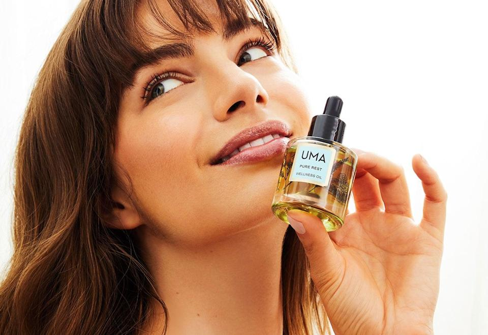 """<p><a href=""""https://www.popsugar.com/buy/UMA-Oils-Pure-Rest-Wellness-Oil-500839?p_name=UMA%20Oils%20Pure%20Rest%20Wellness%20Oil&retailer=umaoils.com&pid=500839&price=85&evar1=casa%3Aus&evar9=47010791&evar98=https%3A%2F%2Fwww.popsugar.com%2Fhome%2Fphoto-gallery%2F47010791%2Fimage%2F47011670%2FUMA-Oils-Pure-Rest-Wellness-Oil&list1=shopping%2Cgifts%2Cneiman%20marcus%2Choliday%2Cmust%20have%20box%2Cpast%20boxes&prop13=api&pdata=1"""" rel=""""nofollow noopener"""" class=""""link rapid-noclick-resp"""" target=""""_blank"""" data-ylk=""""slk:UMA Oils Pure Rest Wellness Oil"""">UMA Oils Pure Rest Wellness Oil</a> ($85)</p> <p>Simply apply <a href=""""https://www.popsugar.com/beauty/best-uma-oils-products-46753330"""" class=""""link rapid-noclick-resp"""" rel=""""nofollow noopener"""" target=""""_blank"""" data-ylk=""""slk:this oil blend"""">this oil blend</a> to your pulse points to promote peace of mind - leave the day's stresses behind and sleep easier than ever. All of the brand's botanicals are grown on a 100-acre meadow, which was carefully chosen for its nutritious soil. Putting your head to the pillow and chilling out will be easier than ever.</p> <p><strong>Essentials We Also Love:</strong> <a href=""""https://www.popsugar.com/buy/Ultimate-Brightening-Face-Mask-500842?p_name=Ultimate%20Brightening%20Face%20Mask&retailer=umaoils.com&pid=500842&price=70&evar1=casa%3Aus&evar9=47010791&evar98=https%3A%2F%2Fwww.popsugar.com%2Fhome%2Fphoto-gallery%2F47010791%2Fimage%2F47011670%2FUMA-Oils-Pure-Rest-Wellness-Oil&list1=shopping%2Cgifts%2Cneiman%20marcus%2Choliday%2Cmust%20have%20box%2Cpast%20boxes&prop13=api&pdata=1"""" rel=""""nofollow noopener"""" class=""""link rapid-noclick-resp"""" target=""""_blank"""" data-ylk=""""slk:Ultimate Brightening Face Mask"""">Ultimate Brightening Face Mask</a> ($70) and <a href=""""https://www.popsugar.com/buy/Ultimate-Brightening-Rose-Toner-500855?p_name=Ultimate%20Brightening%20Rose%20Toner&retailer=umaoils.com&pid=500855&price=65&evar1=casa%3Aus&evar9=47010791&evar98=https%3A%2F%2Fwww.popsugar.com%2Fhome%2Fphoto-gallery%2F470"""