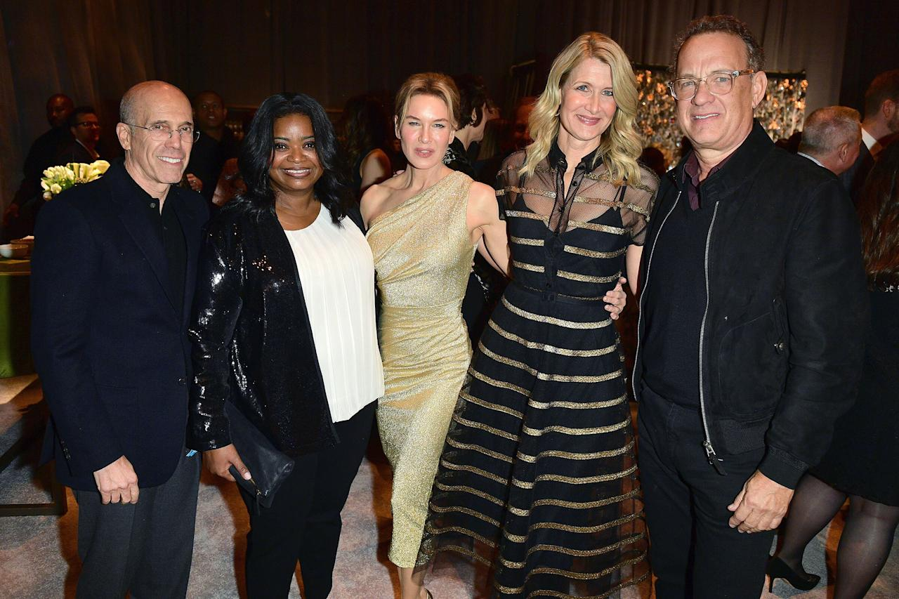 """Jeffrey Katzenberg, Octavia Spencer, Renée Zellweger, Laura Dern and Tom Hanks are all smiles during Oscars weekend at MPTF's 18th Annual """"Night Before"""" Party in Los Angeles on Saturday."""
