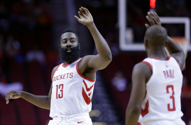 "James Harden and <a class=""link rapid-noclick-resp"" href=""/nba/players/3930/"" data-ylk=""slk:Chris Paul"">Chris Paul</a> should be just fine playing together. (AP)"