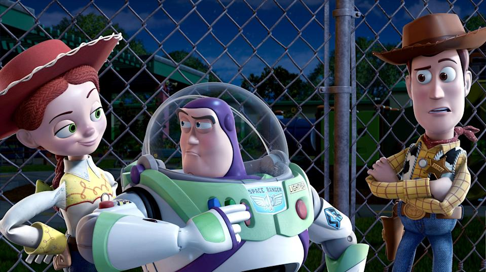 Jessie (voiced by Joan Cusack), Buzz Lightyear (voiced by Tim Allen) and Woody (voiced by Tom Hanks) in <em>Toy Story 3.</em> (Photo: Buena Vista Pictures c/o Everett Collection)
