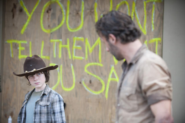"Carl Grimes (Chandler Riggs) and Rick Grimes (Andrew Lincoln) in ""The Walking Dead"" episode, ""Clear."""