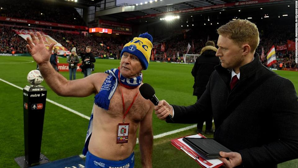 "<p>Liverpool put aside rivalries by inviting Everton fan Cullen onto the pitch at halftime of Merseyside derby clash in the third round of the FA Cup.</p><div class=""cnn--image__credit""><em><small>Credit: John Powell/Liverpool FC/Liverpool FC via Getty Images / Liverpool FC via Getty Images</small></em></div>"