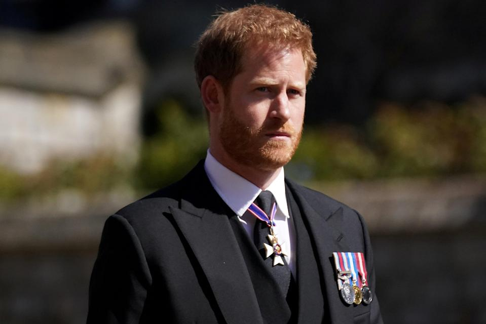 <p>Prince Harry at his grandfather's funeral last month</p> (REUTERS)