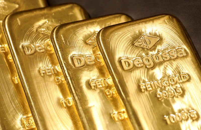 FILE PHOTO: Gold bullions are displayed at Degussa shop in Singapore