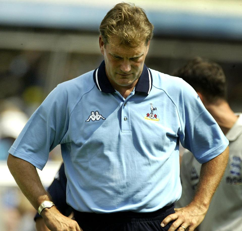 Tottenham Hotspur Manager Glenn Hoddle shows his dejection after his side's 1-0 defeat to Birmingham City in the FA Barclaycard Premiership match at St Andrews, Birmingham. THIS PICTURE CAN ONLY BE USED WITHIN THE CONTEXT OF AN EDITORIAL FEATURE. NO WEBSITE/INTERNET USE UNLESS SITE IS REGISTERED WITH FOOTBALL ASSOCIATION PREMIER LEAGUE. * 21/9/03: Tottenham Hotspurs have announced that manager Glenn Hoddle has left the club with immediate effect. Former England boss Hoddle has come under increasing pressure at White Hart Lane following the club's disappointing start to the new Barclaycard Premiership season.