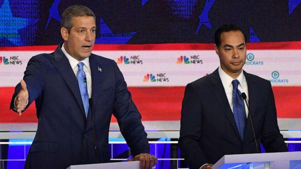 PHOTO: Tim Ryan and Julian Castro participate in the first Democratic primary debate hosted by NBC News at the Adrienne Arsht Center for the Performing Arts in Miami, Florida, June 26, 2019. (Jim Watson/AFP/Getty Images)