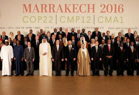 World leaders pose for a family photo at the UN Climate Change Conference 2016 (COP22) in Marrakech, Morocco November 15, 2016. REUTERS/Youssef Boudlal