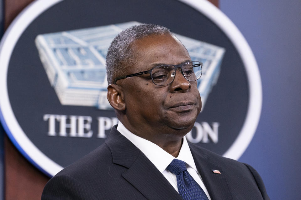 In this Aug. 18, 2021, photo, Secretary of Defense Lloyd Austin pauses while speaking during a media briefing at the Pentagon in Washington. For senior military and Pentagon leaders, this week's news was profoundly personal. The photos and videos pouring out of Afghanistan hit a nerve, and triggered searingly vivid flashbacks to battles fought, troops lost and tears shed during their own deployments there. (AP Photo/Alex Brandon)