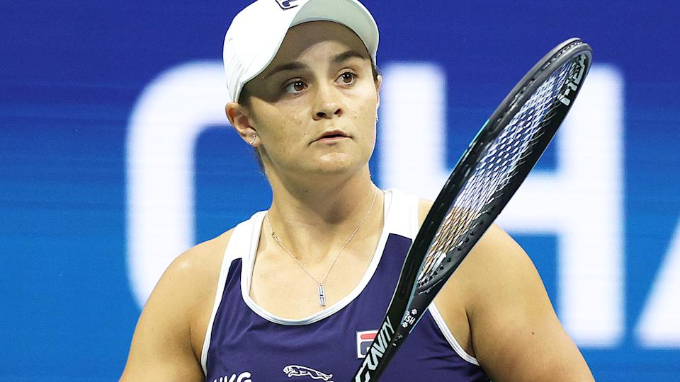 Ash Barty, pictured here in action at Wimbledon.