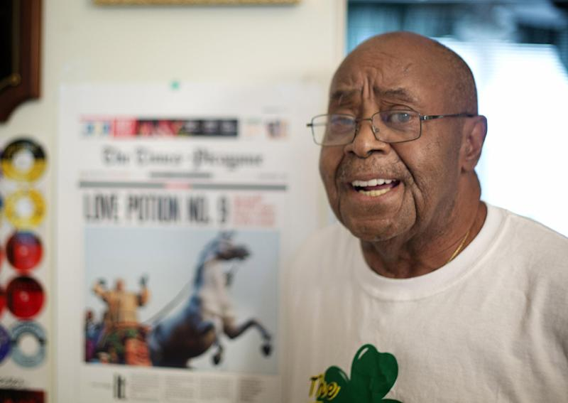 "Harold Winley, who performed ""Love Potion No. 9"" and other hits with the band The Clovers in the 50s, poses for photos Friday, Aug. 2, 2013. The 80-year-old says a splinter group is trying to keep him from performing using the band's name. (AP Photo/J Pat Carter)"