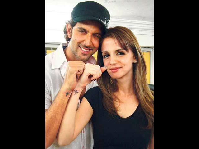 <b>6. Sussanne-Hrithik </b><br> This tattoo came in the media when Hrithik was shooting for Kites with Barbara Mori. Rumour mills were working overtime with stories about Hrithik and Barbara's alleged affair. However, all the chatter died down when Hrithik-Sussanne posed their tattooed forearm in public to show their strong bond.