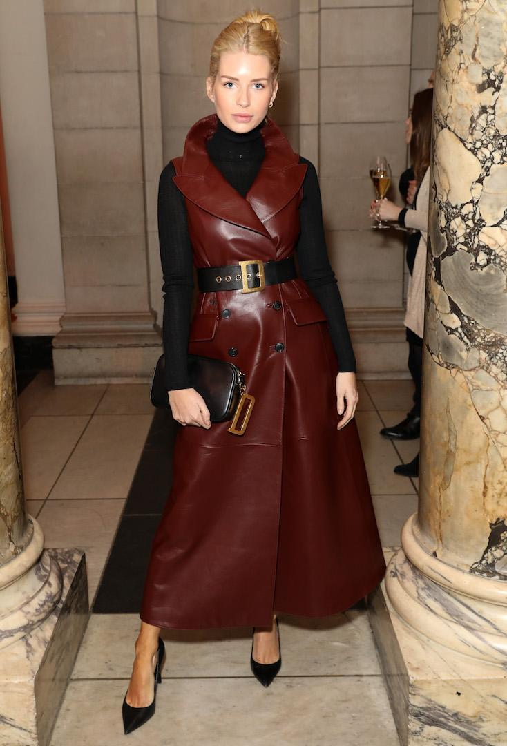 <p>Lottie Moss looked the spits of Kate in a luxe burgundy-hued coat and Dior belt at the star-studdent event. <em>[Photo: Darren Gerrish]</em> </p>