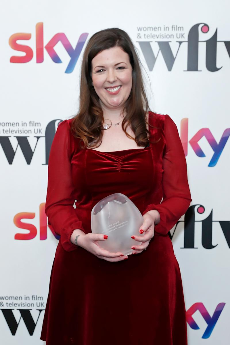 Lisa McGee winner of the ScreenSkills Writing Award in the winners room at the Women in Film and TV Awards 2019 at Hilton Park Lane on December 06, 2019 in London, England. (Photo by David M. Benett/Dave Benett/Getty Images for Women in Film and TV)