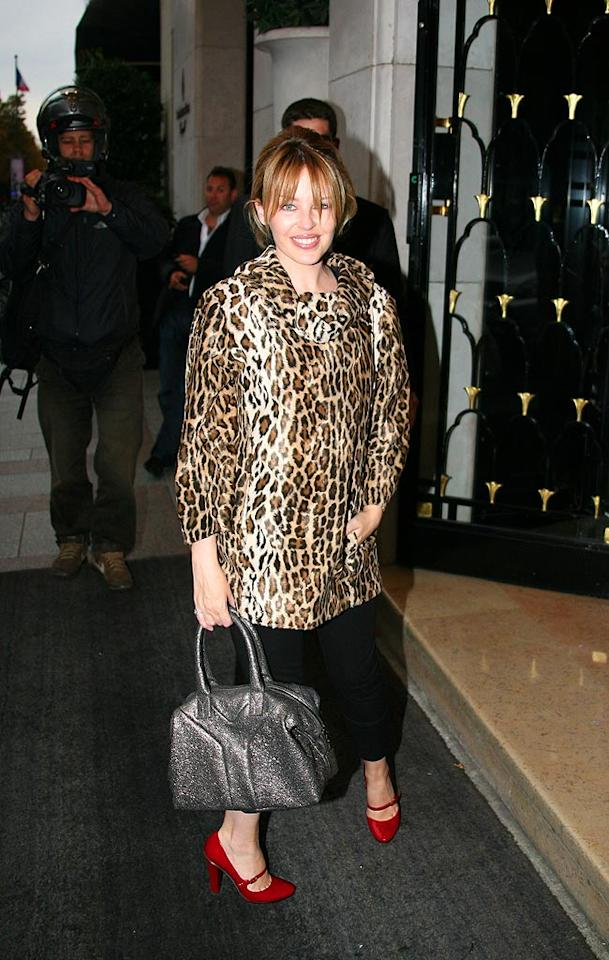 "Kylie Minogue looked far from ferocious in a tacky cheetah top. KCSPresse/<a href=""http://www.splashnewsonline.com"" target=""new"">Splash News</a> - September 23, 2008"