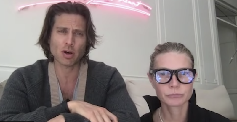 Brad Falchuk and Gwyneth Paltrow talked with an intimacy expert during quarantine. (Screenshot: Goop/YouTube)