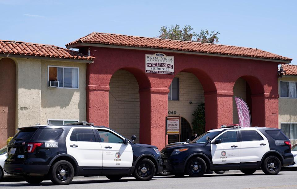<p>Two Los Angeles police cruisers are pictured in April, 2021.</p> ((AP Photo/Damian Dovarganes, File))