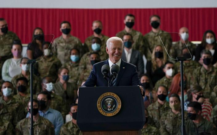 US President Joe Biden addresses US Air Force personnel at RAF Mildenhall in Suffolk, ahead of the G7 summit in Cornwall. - PA