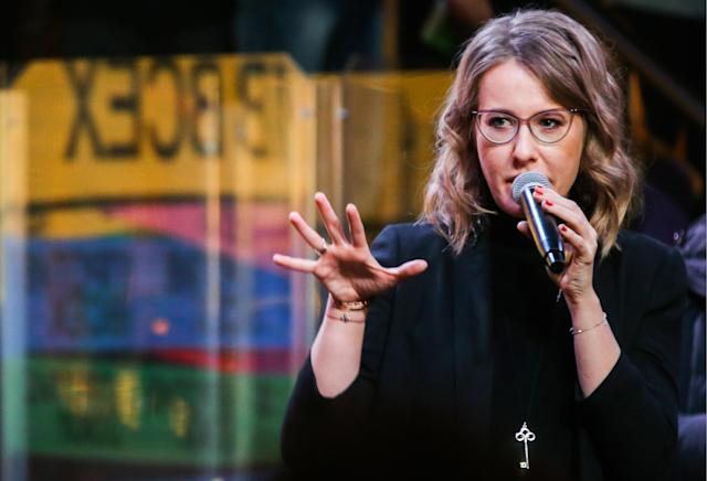 Sobchak speaking to supporters in St. Petersburg on Feb. 3, 2018 (Photo: Getty Images)
