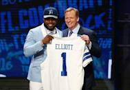 Apr 28, 2016; Chicago, IL, USA; Ezekiel Elliott (Ohio State) with NFL commissioner Roger Goodell after being selected by the Dallas Cowboys as the number four overall pick in the first round of the 2016 NFL Draft at Auditorium Theatre. Jerry Lai-USA TODAY Sports