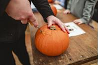 """<p>It's a classic Halloween activity for a reason. Grab pumpkins for the whole family (groceries stores tend to sell them if you don't feel like venturing out to a patch). Then you can either free-hand a design or print out one of the many templates floating around the interwebs.</p><p><a class=""""link rapid-noclick-resp"""" href=""""https://www.delish.com/holiday-recipes/halloween/g1813/halloween-pumpkin-carving/"""" rel=""""nofollow noopener"""" target=""""_blank"""" data-ylk=""""slk:GET PUMPKIN CARVING INSPIRATION"""">GET PUMPKIN CARVING INSPIRATION</a></p>"""