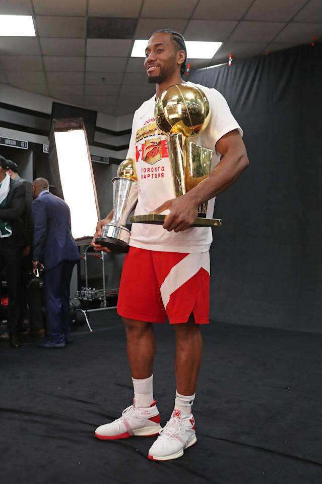 OAKLAND, CA - JUNE 13: Kawhi Leonard #2 of the Toronto Raptors celebrates after the game against the Golden State Warriors during Game Six of the NBA Finals on June 13, 2019 at ORACLE Arena in Oakland, California. (Photo by Joe Murphy/NBAE via Getty Images)