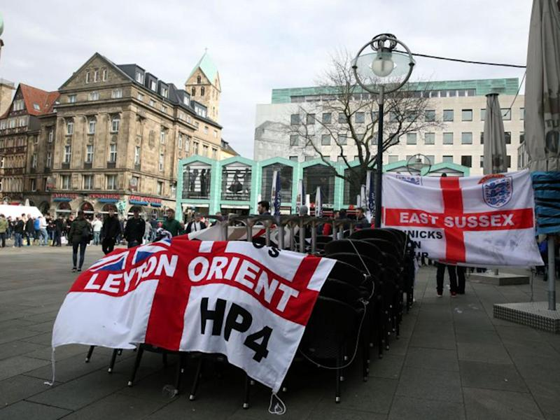 The fans' occupation in the town centre was one thing, but chanting about the war was shameful (PA)